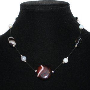 "Vintagejelyfish Jewelry - Beautiful agate stone necklace 17"""